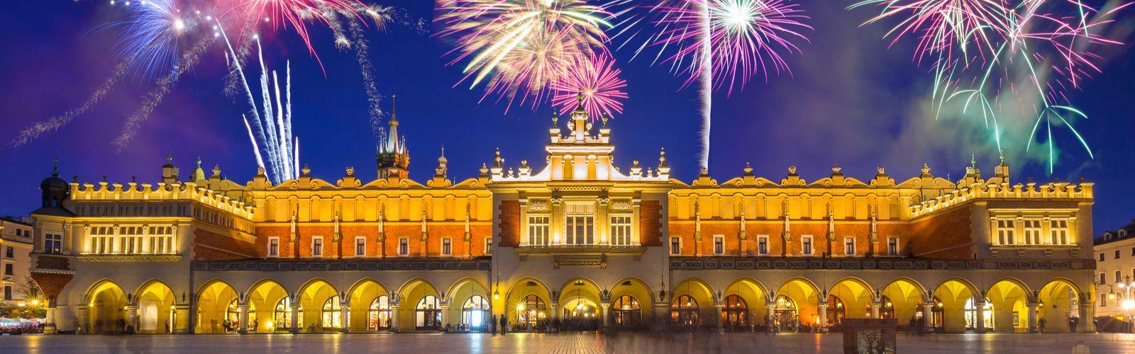 Krakow New Years Eve Fireworks Sukiennice