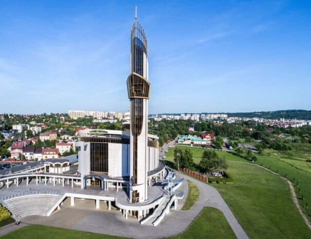 Sanctuary of Divine Mercy, church, park and the Way of the Cross in Lagiewniki, Cracow