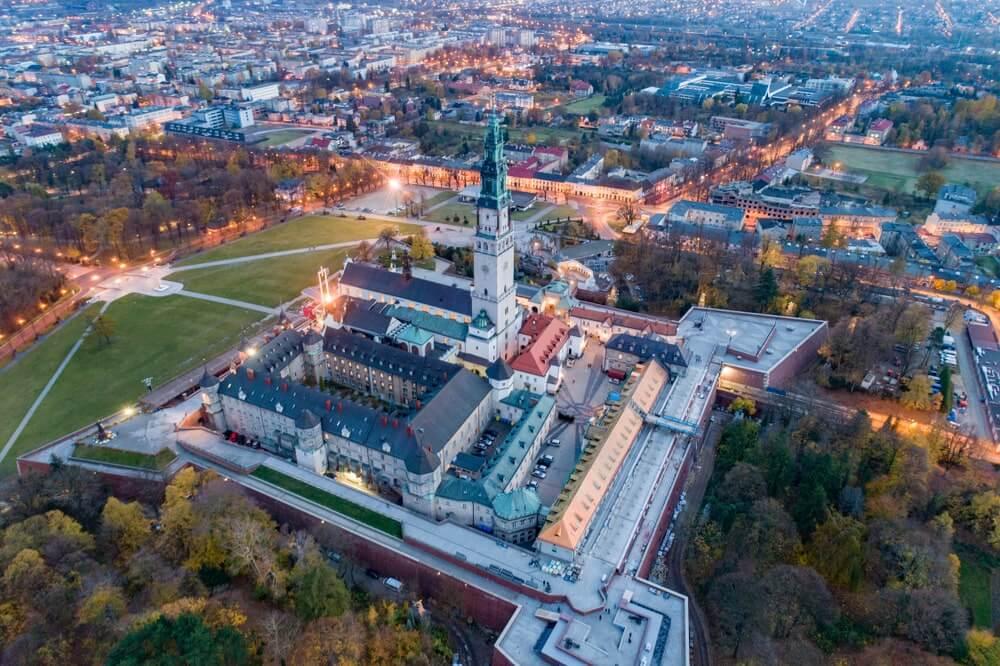 Aerial drone view on Czestochowa and Jasna Gora monastery.
