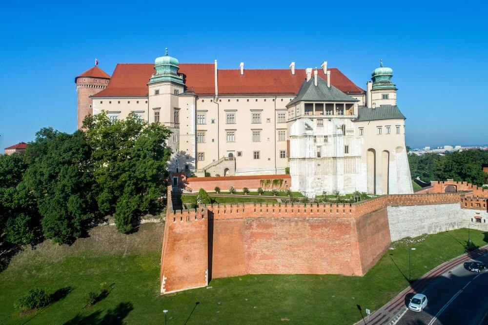 Historic royal Wawel castle in Krakow, Poland, Aerial view in the morning-min