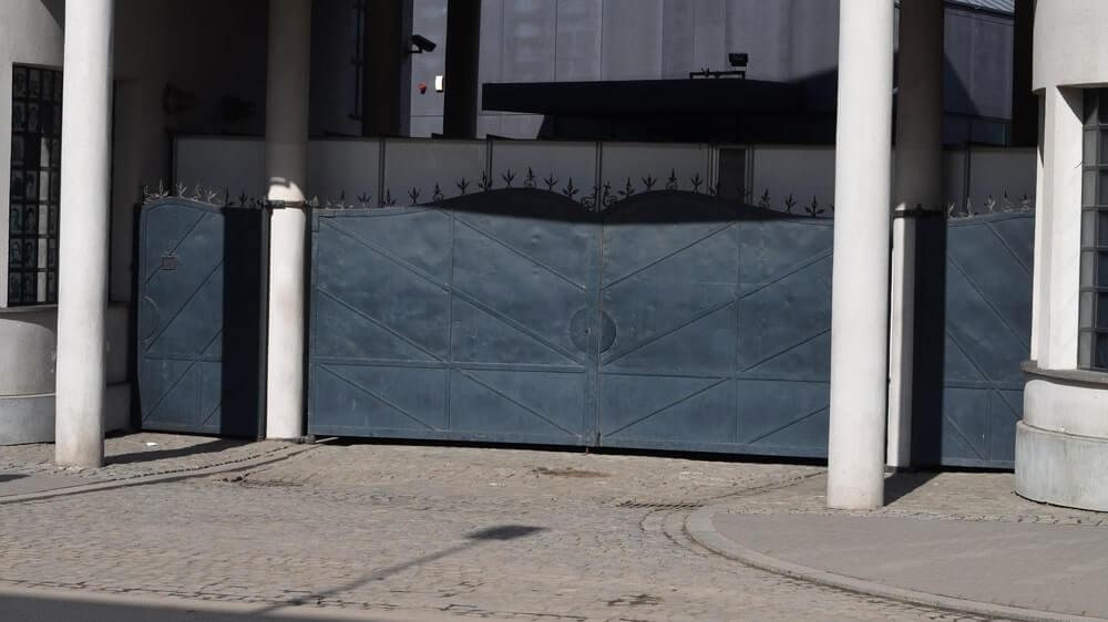 gate of Oskar Schindler's factory in Krakow
