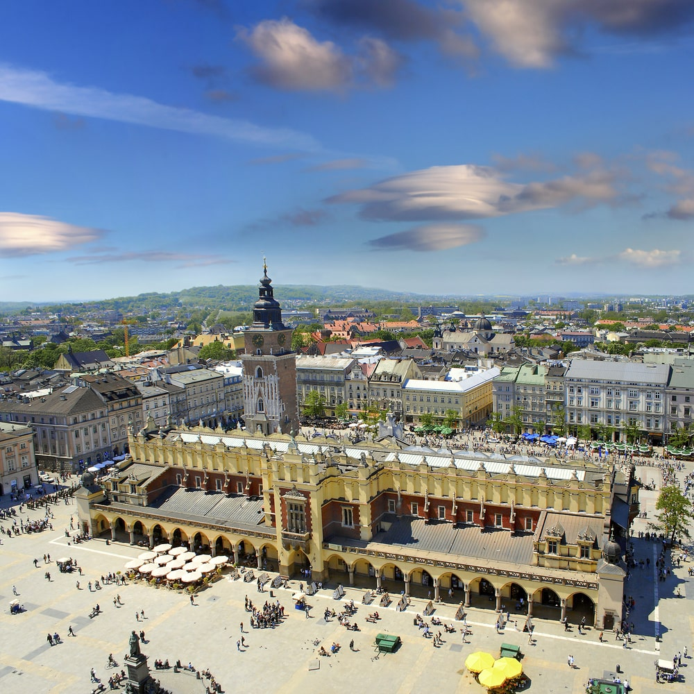 View of the old town of Cracow, old Sukiennice, Poland, World Heritage Site by UNESCO