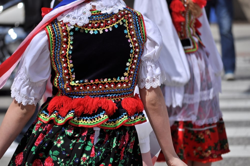 Polish folk costumes. Krakow.