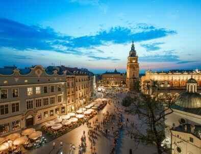 Krakow Main Square view towards grodzka street