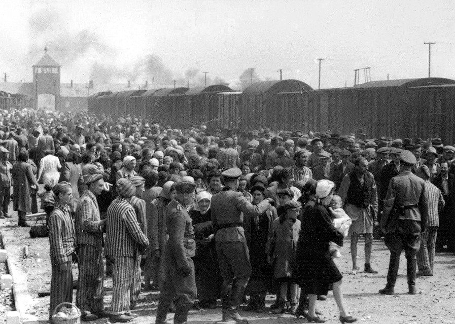 "A group of Jews being ""selected"" in 1944. Even the victims of Death Camps did not know where they were going at first."