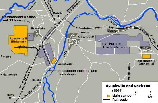 A map showing localisation of Auschwitz I, Auschwitz Birkenau, and Auschwitz Monowitz.